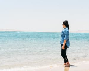 Standing by the water in Doha, Qatar