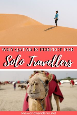 Travelling in Doha, Qatar is a solo traveller destination paradise! It is safe for solo female travellers, it is full of bucket list items, it has stunning desert landscapes, and is full of things to see and do! Travelling to the Middle east is perfect for solo female travellers. Here's why! #solotravel #femaletraveller #middleeast