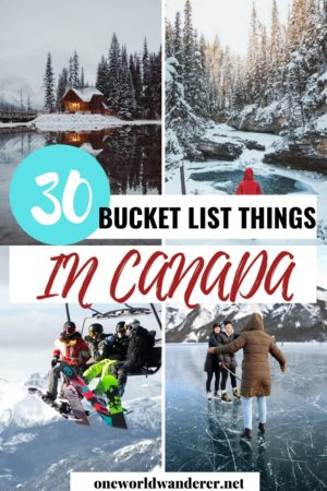 Canada is one of the world's most scenic travel destinations with an abundance of canadian bucket list places to see and things to do! It's full of wilderness, animals, stunning scenery, and so many more bucket list items! For your next vacation, why not check out Canada? And use this Canadian bucket list to help guide you with your travel planning. #canada #canadiantrip #destinationguide