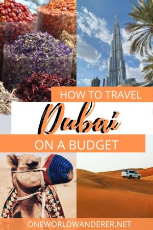 Visiting Dubai on a budget doesn't have to be a challenge. With endless cheap and free things to do, see and eat in Dubai, United Arab Emirates, it is an amazing city to visit. Many people think it's impossible to travel to Dubai if you aren't a luxurious traveller! But there are so many ways to save money in Dubai, including free attractions, cheap things to eat, and budget-friendly accommodations #visitdubai #dubaionabudget #dubai #budgettravel