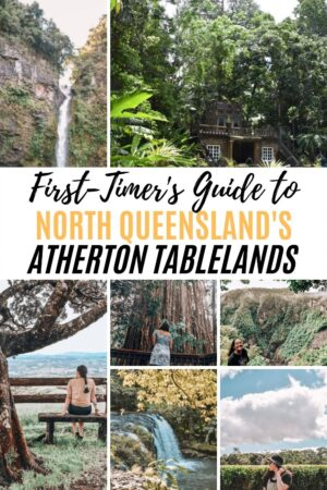 First-timers guide to Atherton Tablelands in North Queensland. Everything there is to see and do and the top places to visit like millaa millaa falls, millaa millaa waterfall circuit, tully gorge, fig trees, paronella park, nandroya falls, wallicher and tchupala falls, and nerada tea rooms. Don't miss these beautiful places in the rainforest. #millaamillaafalls #northqueensland #athertontablelands #paronellapark